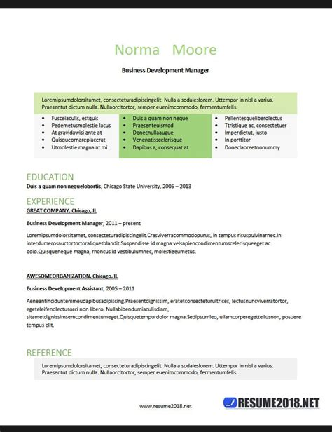 Latest Resume Templates 2018 100 Resume Exles In Word Word Resume Template 2018