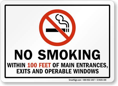 printable no smoking sign ohio no smoking within 100 feet of entrances exits sign sku