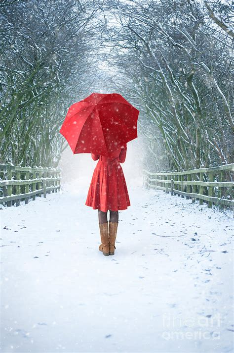 White Toddler Duvet Cover Woman With Red Umbrella In Snow Photograph By Lee Avison