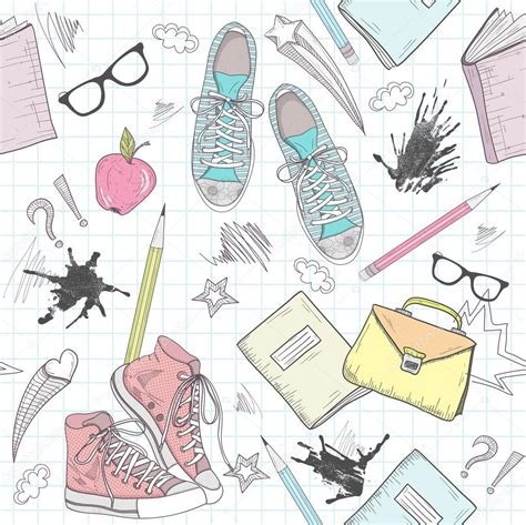 cute pattern passwords cute school abstract pattern seamless pattern with shoes