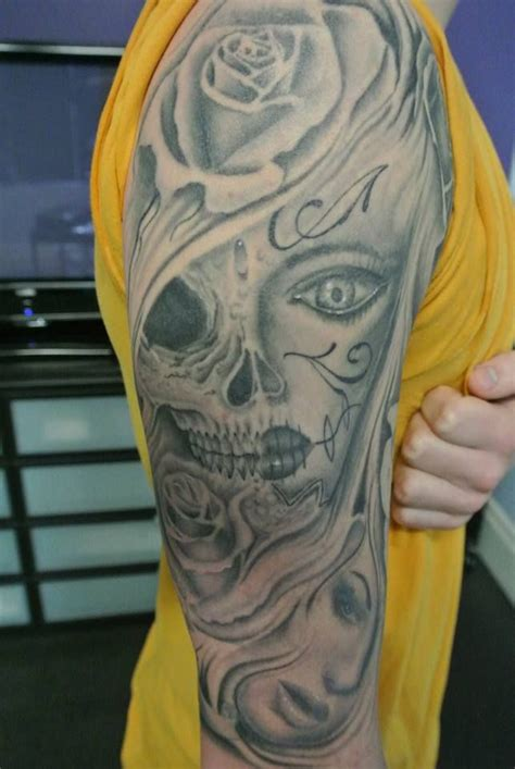black and grey tattoo fresh vs healed ace tattoo candy skulls and skulls and roses on pinterest