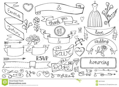 draw doodle and decorate doodle bridal shower ribbons border decor elements stock