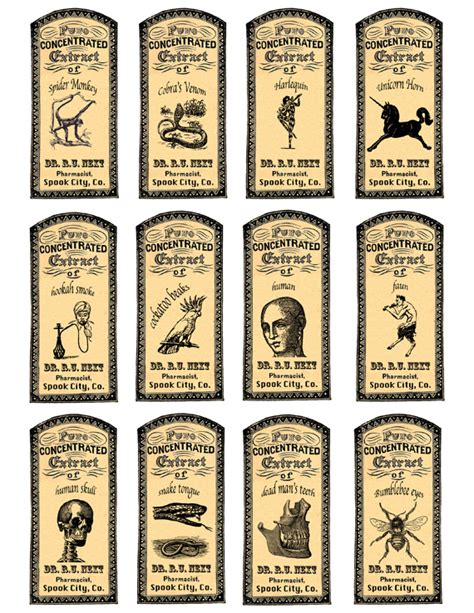 apothecary labels for some halloween fun free printable