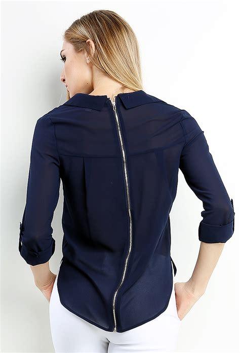 Zipper Blouse 1 back zipper chiffon blouse shop blouse shirts at papaya clothing