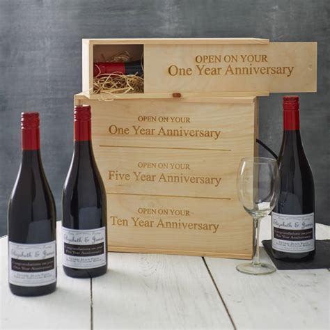 personalised anniversary wine box by intervino