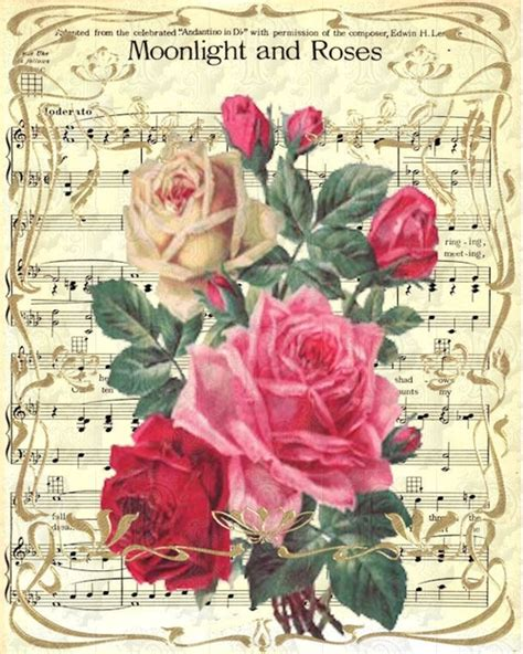 song roses are moonlight and roses sheet printable printables