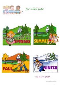 printable seasons poster four seasons poster worksheet free esl printable