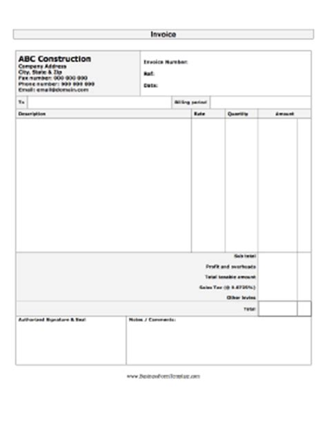 Construction Invoice Template Construction Business Forms Templates