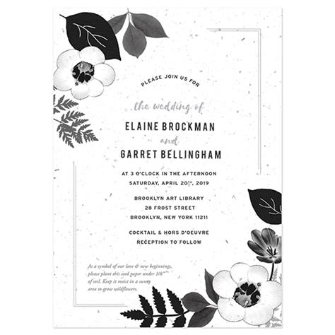 black and white wedding invitations black white blooms plantable wedding invitation