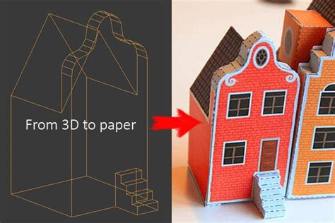 model card houses template papermau from 3d to papercraft tutorial with a free
