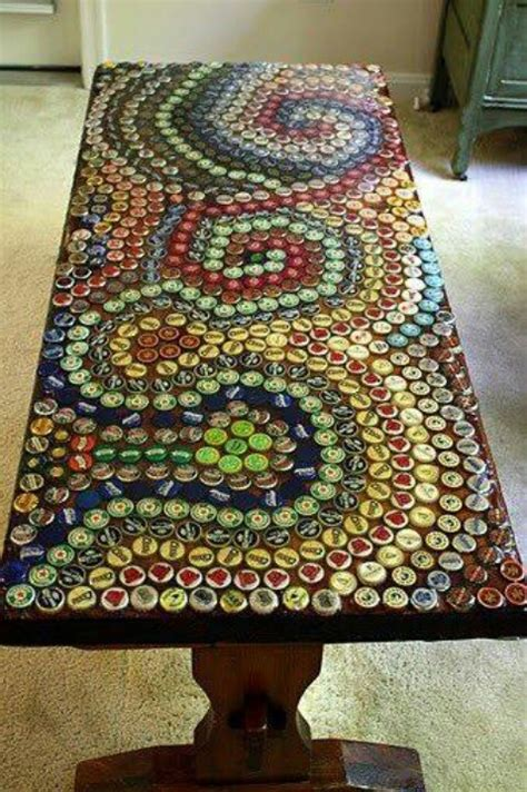 bottle cap bench upcycling a wood bench with bottle caps earth day