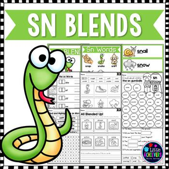 sn words worksheets s blends worksheets sn blend words by achievers tpt
