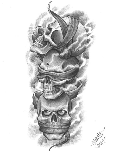 multiple skull tattoo designs hear no evil see no evil speak no evil it