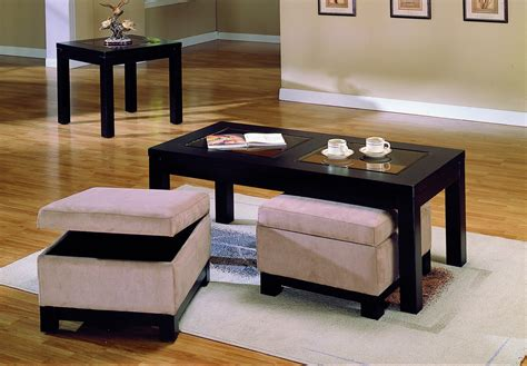 table with ottomans underneath homelegance symphony cocktail table ottoman peat microfiber 3218b 30
