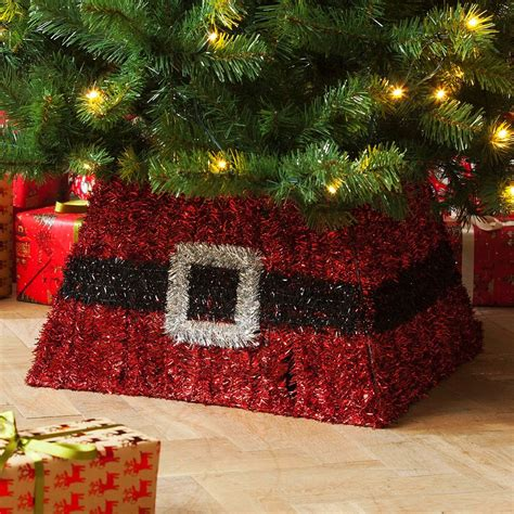 tinsel christmas tree skirt gold