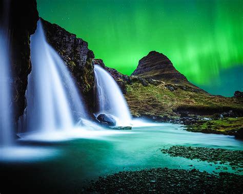iceland waterfall hd wallpapers 4k iceland waterfall river night aurora 4k ultra hd 1280x1024