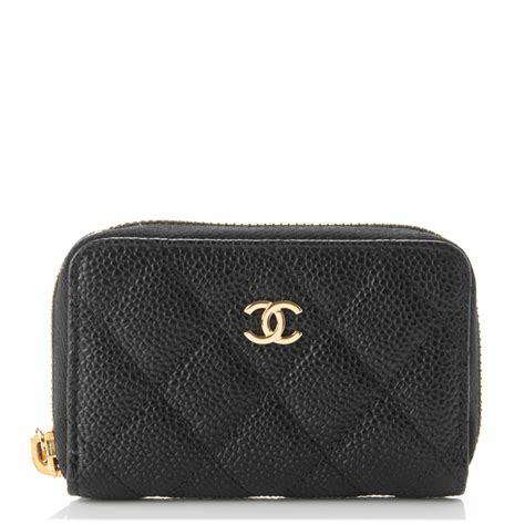 chanel caviar quilted zip coin purse black 176390