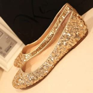Sepatu Flat Shoes List Gold s shoes flat heel single shoes wedding shoes gold sequin plus size s