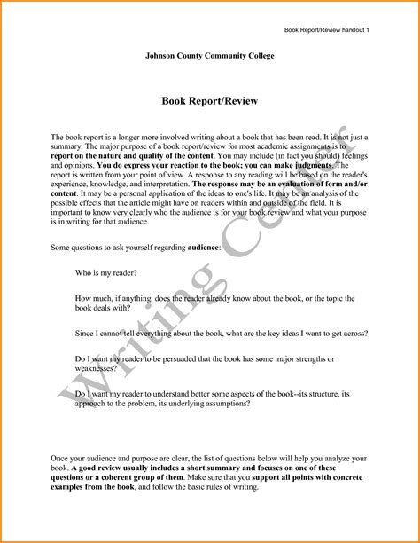 how to write a college book report exle writing book reviews
