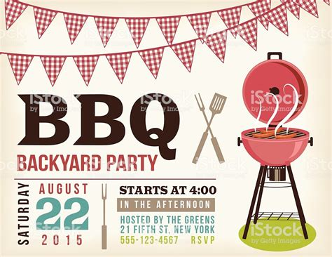 Retro Bbq Invitation Template With Checkered Flags Stock Vector Art More Images Of 2015 Free Bbq Invitation Template