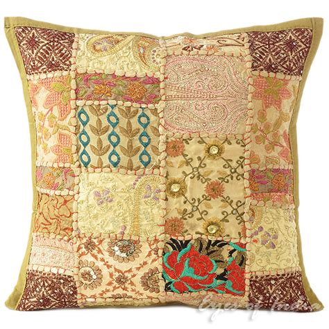Patchwork Sofa Throw - 16 quot brown decorative patchwork sofa throw cushion pillow