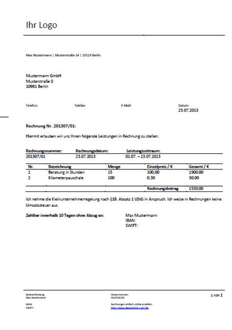 Rechnung Kleinunternehmer Eu Pin Rechnungsvorlage Und Rechnungsvordruck Word On