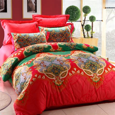 indian comforter sets red and green unique indian tribal print 100 cotton full queen size bedding comforter cover