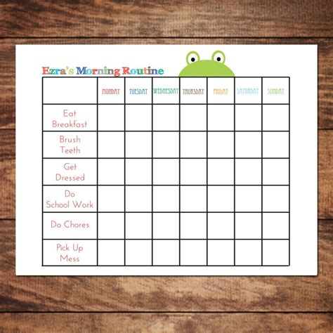 printable personalized morning routine chart diy