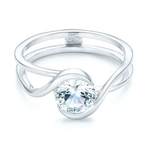 custom interlocking solitaire engagement ring 102244