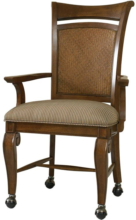 dining room chairs on wheels windward dining arm chair with caster wheel base woven