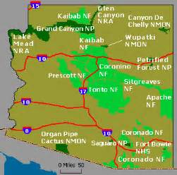 arizona national monuments map wildernet arizona national forests parks and