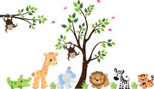 Alphabet Wall Stickers For Nursery huge animal jungle wall mural stickers