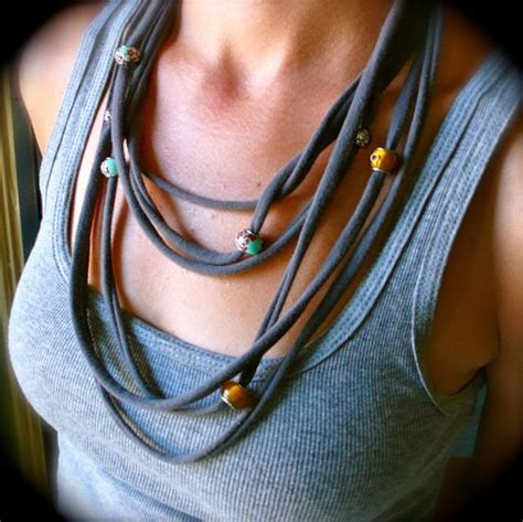 pattern for t shirt necklace recycled t shirt beaded fabric necklace tessuti