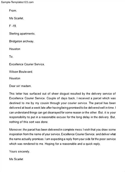 Complaint Letter For Poor Quality Writing Customer