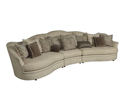 curved sectionals amanda transitional curved ivory sectional sofa w loose