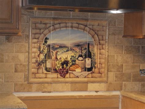 decorative tile backsplash kitchen tile ideas tuscan wine tile mural
