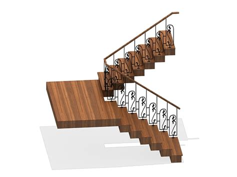 U Stairs Design U Shaped Wooden Staircase 3d Model 3ds Max Files Free Modeling 26166 On Cadnav