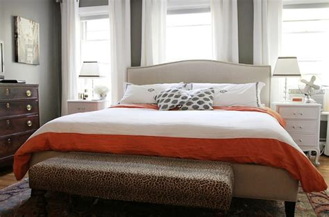 Crate And Barrel Colette Bed Bed In Front Of Window Contemporary Bedroom The