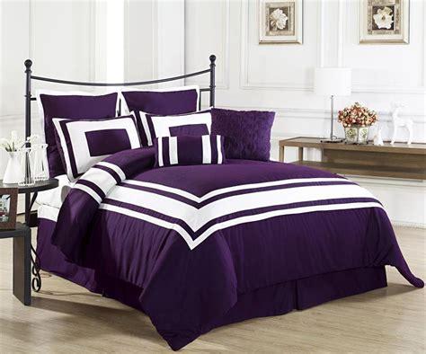 lux decor dark purple pc comforter set white stripe bedding king ck bed cover ebay