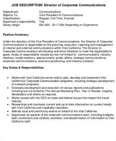 9 Communications Director Job Description Sles Sle Templates Church Director Description Template