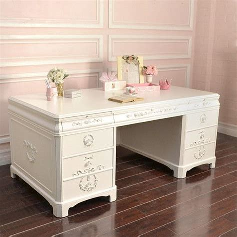 shabby cottage chic large white office executive desk 8
