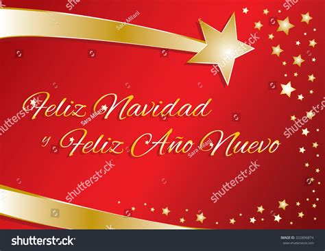 vector greeting card merry christmas  happy  year  spanish red  gold