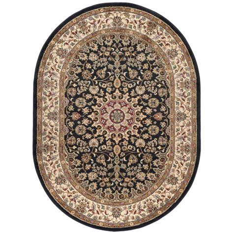7 x 9 oval area rugs tayse rugs elegance black 6 ft 7 in x 9 ft 6 in oval indoor area rug 5393 black 7x10 oval