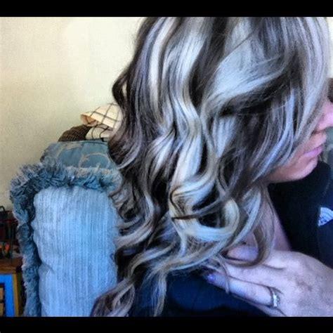dark hair base with platinum highlights platinum highlights and dark brown lowlights hair