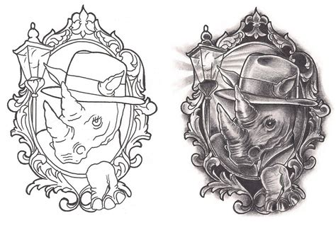 new school rhino tattoo freebies film noir rhino tattoo design by tattoosavage on