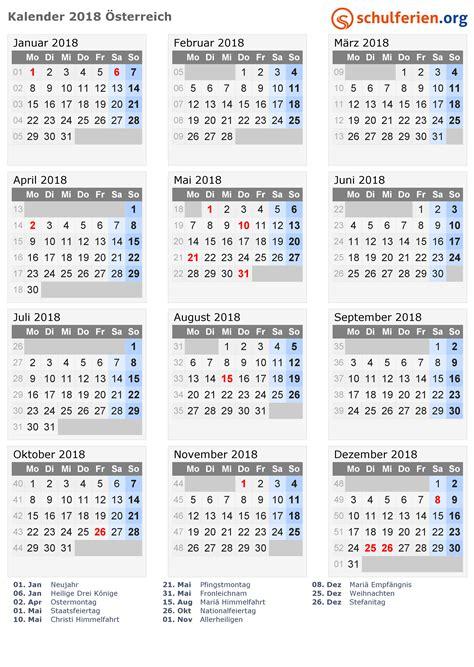 Ferien 2018 österreich Kalender 2018 214 Sterreich