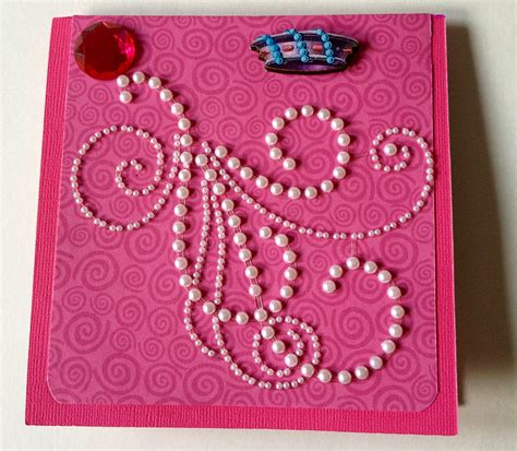 Handcrafted Designs - 3d handmade birthday card pearls and whirls
