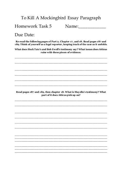 to kill a mockingbird essay part 1 docoments ojazlink mini essay 5 to kill a mockingbird essay paragraph