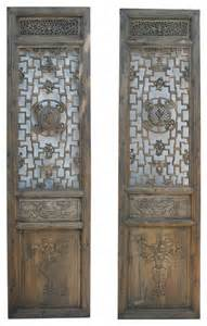 Tall Decorative Floor Vases Pair Carving Tall Wood Door Panels Asian Wall