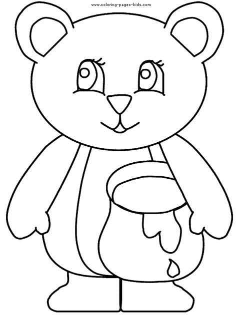 honey bear coloring pages bear holding a honey pot color page free printable